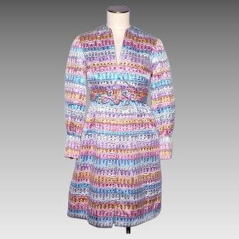 Vintage 1960s Cocktail Dress by Accentique Metallic Rainbow Colors