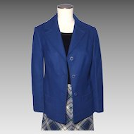 Vintage 1970s Pendleton Blazer Jacket Navy Blue Wool