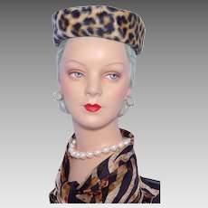Vintage 1960s Faux Leopard Fur Pillbox Hat