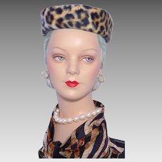 Vintage 1960s Faux Leopard Fur Pillbox Hat