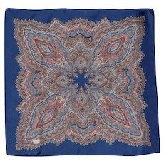 Vintage Liberty of London Silk Scarf Blue Paisley Print 1970s