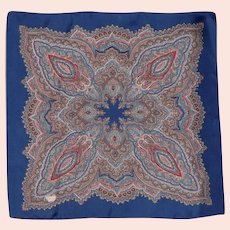 Vintage Liberty of London Silk Scarf Blue Paisley Print 1970s