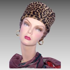 Vintage 1960s Faux Leopard Fur Pillbox Hat Bonwit Teller