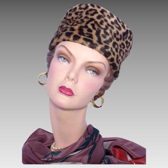 Vintage 1960s Faux Leopard Fur Pillbox Hat Bonwit Teller