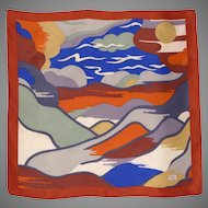 Vintage Liberty of London Scenic Silk Scarf 1960s