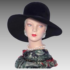 Vintage 1960s Dana Marte Wide Brim Hat Black Velour Wool Felt