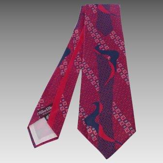 Vintage 1940s Silk Print Necktie Tie Sold at Miller & Rhoads Deadstock