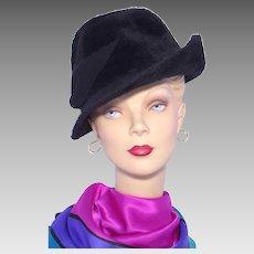 Vintage 1960s Black Fur Felt Hat Made by Duby New York