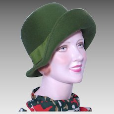 Vintage 1960s Green Wool Felt Hat