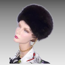 Vintage 1960s Black Fox Fur Hat Miss Alice Sold at Montaldo's