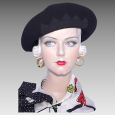 Vintage 1930s Black Wool Felt Hat Off the Face Style