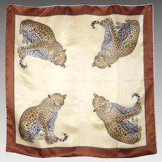Vintage 1980s Leopard Print Silk Scarf Serica Lariana Made in Italy