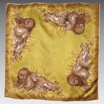 Vintage 1980s Lions Print Silk Scarf