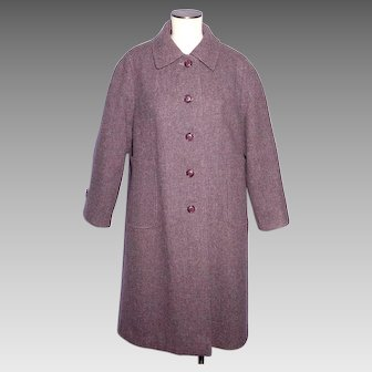 Vintage 1960s-70s Welsh Tweed Wool Coat Forstmann