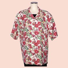 Hilo Hattie 1980s Christmas Print Aloha Mens Shirt Made in Hawaii