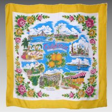 Vintage 1960s California Souvenir Scarf Made in Japan
