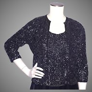 Vintage 1960s Black Beaded Sweater and Shell Top Sequins Galore House of Gold