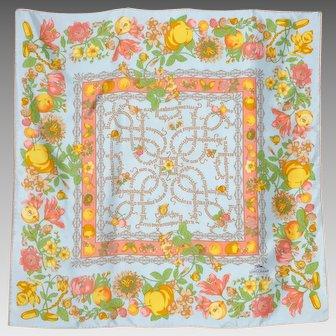 Longchamp Paris Silk Scarf Floral Butterfly Fruit Print 1990s