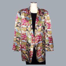 Nicole Miller Wine Country Print Silk Boyfriend Jacket Coat 1994