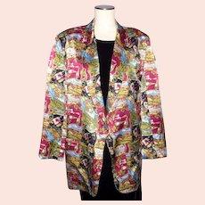 Nicole Miller Wine Country Print Silk Boyfriend Jacket Coat 1994