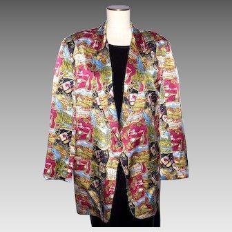 Nicole Miller Wine Country Print Silk Boyfriend Jacket Coat 1994 Mens Womens