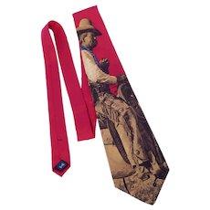 Polo by Ralph Lauren Old West Cowboy Print Silk Tie Necktie 1980s