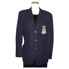 Vintage 1960s Mens Blazer Black Wool US Air Force Bullion Badge Made in England by Alexandre