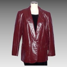 Vintage 1970s Aigner Leather Jacket Coat Burgundy Oxblood