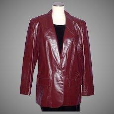 Vintage 1970s Aigner Leather Jacket Coat Burgundy Oxblood