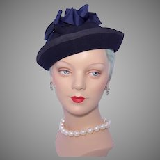 Vintage 1940s-50s Knox Navy Blue Wool Felt Hat Raleigh Haberdasher