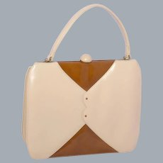 Vintage 1960s Palizzio Very New York Leather Handbag Two Tone Beige
