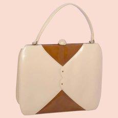 Vintage 1960s Palizzio Very New York Leather Handbag Two Tone Beige