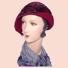 b01513680d2 Mr John Classic Feather Hat Cloche Style Burgundy Wool Felt 1990s
