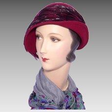 Mr John Classic Feather Hat Cloche Style Burgundy Wool Felt 1990s