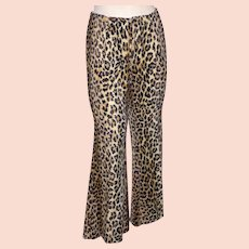 Vintage 1970s Leopard Print Faux Fur Pants Happy Legs Bell Bottoms