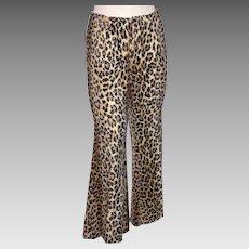 Vintage 1970s Leopard Print Faux Fur Pant Happy Legs Bell Bottoms