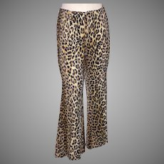 Vintage 1970s Leopard Print Faux Fur Pants Happy Legs Bell Bottoms