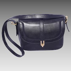 1980s Morris Moskowitz Black Leather Handbag Deadstock NOS