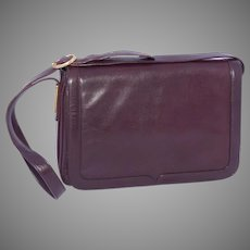 Vintage 1980s Brown Leather Handbag Made in Italy for Thalhimers