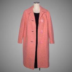 Vintage 1960s Wool Boucle Coat Salmon Pink by Pioneer Coat Co