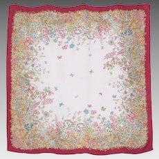 1990s Mantero Silk Scarf Flower Garden Print Made in Italy