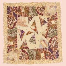 Vintage 1980s Bottega Veneta Silk Scarf Klimt Inspired Art Print