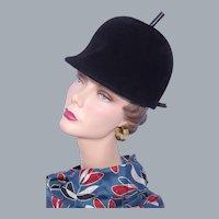 Vintage 1960s Beresford Black Wool Hat Helmet Style