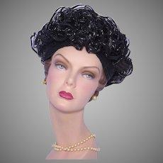 Vintage 1960s Reggi of Wilshire Hat Black Straw Ruffles