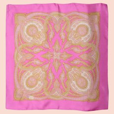 Liberty of London Pink Paisley Print Silk Scarf 1980s