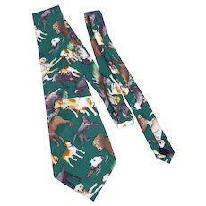 Nicole Miller Labrador Retriever Dog Print Silk Necktie Tie 1996