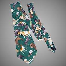 Nicole Miller Labrador Retriever Print Silk Necktie Tie 1996