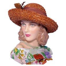 Vintage 1980s Kathy Jeanne Straw Hat Burnt Sienna With Huge Flower