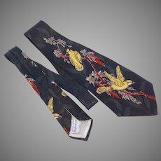 Vintage 1950s Necktie Tie Bird Print Resilient Construction Diplomat Rayon