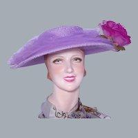 Vintage 1950s Lilac Wide Brim Hat Silk Rose